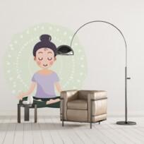 Sticker meditation cartoon