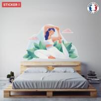 Sticker pratique du yoga aquarelle