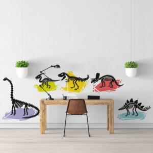 Stickers dinosaures cristaux