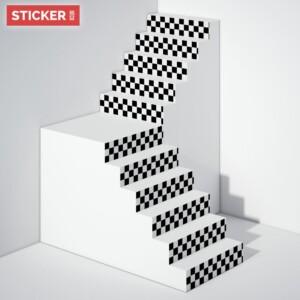 Stickers Escaliers Damier Noir