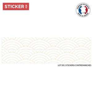 Stickers Escaliers Motif Japonais Uroko Blanc