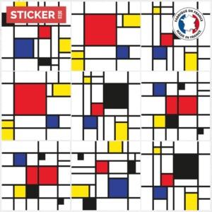 Stickers Sol Carreaux De Ciment Mondrian