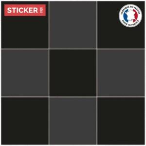 Stickers Sol Carrelage Gros Damier Sombre