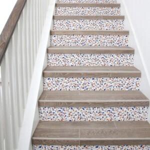 stickers escaliers terrazzo orange bleu