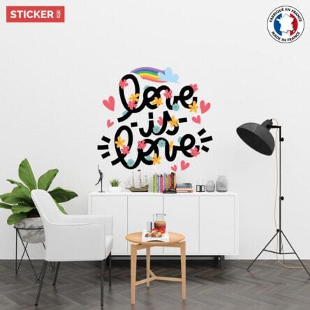 Sticker Love Is Love Fleurs