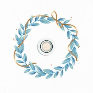 Plafonnier Adhésif Couronne De Feuilles Bleu Et Marron