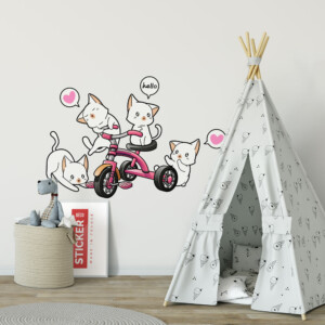 Sticker Chatons Tricycle