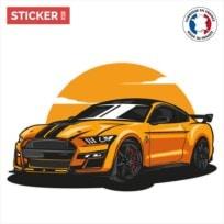 sticker ford mustang orange
