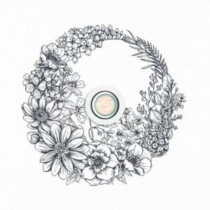Sticker Plafonnier Floral Couronne Doodle