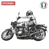 Sticker Motard Dessin Au Trait